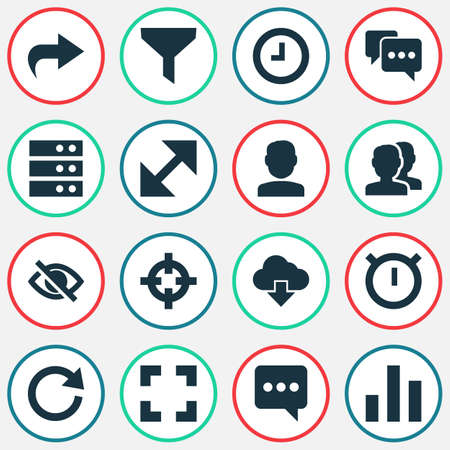 User Icons Set With Strainer, Conceal, Quest And Other Datacenter   Elements. Isolated Vector Illustration User Icons.