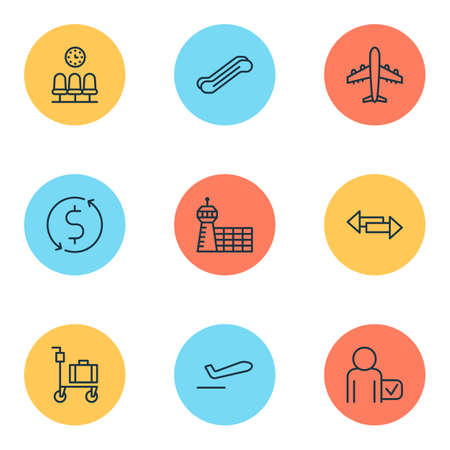 Airport Icons Set With Airliner, Crossroad, Suitcase Pushcart And Other Globetrotter   Elements. Isolated Vector Illustration Airport Icons. Illustration
