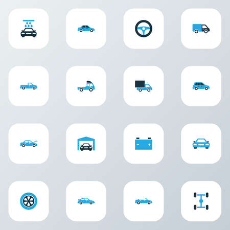 Auto Colorful Icons Set With Garage, Truck, Steering Wheel And Other Steering Wheel   Elements. Isolated Vector Illustration Auto Icons. 向量圖像