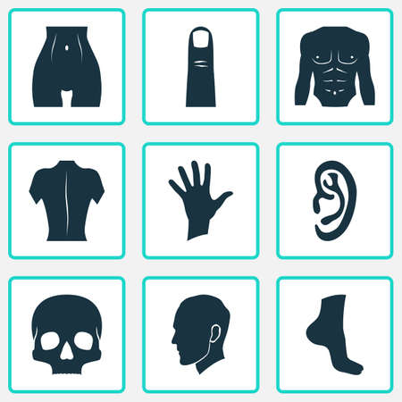 Part Icons Set With Slim, Body, Gesture And Other Human   Elements. Isolated Vector Illustration Part Icons.