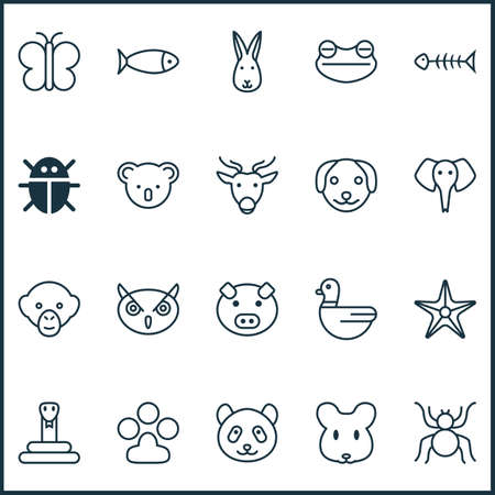 Zoology Icons Set With Night Fowl, Marsupial, Toad And Other Goose   Elements. Isolated Vector Illustration Zoology Icons.