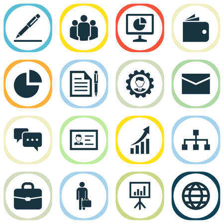 Trade Icons Set With Hierarchy, Pen, Billfold And Other Work Man  Elements. Isolated Vector Illustration Trade Icons.