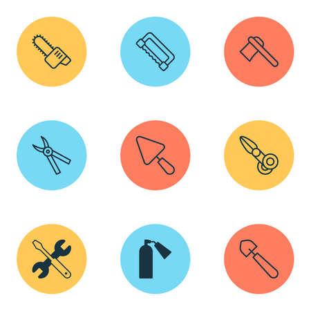 Equipment icons set Illustration
