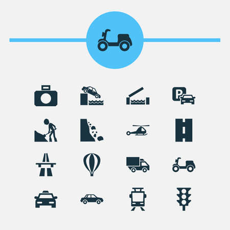 Transportation icons set with stoplight, way, streetcar and other streetcar  elements. Isolated vector illustration transportation icons.