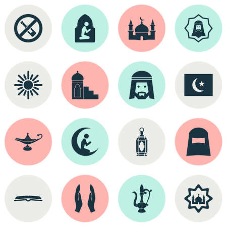 Holiday icons set with praying, worship, forbidden and other man with moon   elements. Isolated vector illustration holiday icons.