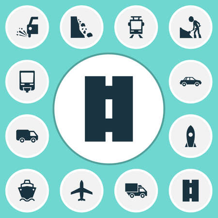 Transport icons set with slippery, streetcar, spaceship and other van   elements. Isolated vector illustration transport icons. Illustration