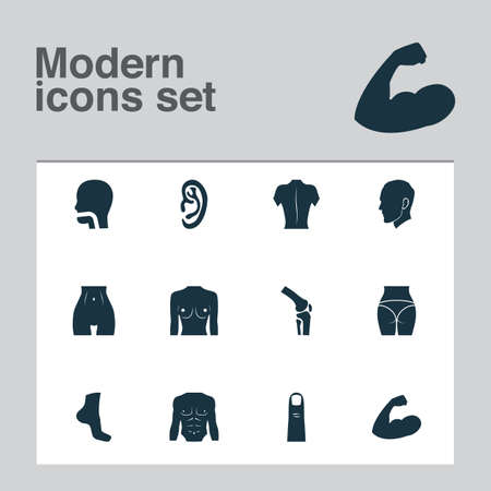 Physique icons set with buttocks, muscle, body and other athletic   elements. Isolated vector illustration physique icons. Illustration