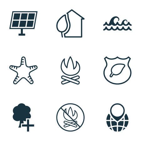 Eco icons set with insert woods, pin earth, fire banned and other sea star  elements. Isolated vector illustration eco icons.