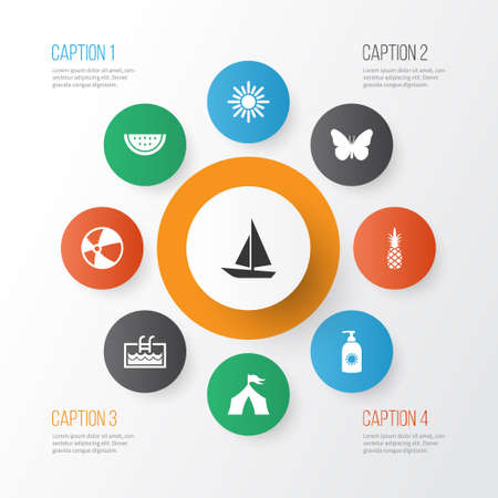 Summer icons set with balloon, camp, ananas and other ship   elements. Isolated vector illustration summer icons. Illustration