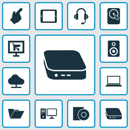Digital icons set with palmtop, nettop, hdd and other nettop   elements. Isolated vector illustration digital icons. Illustration