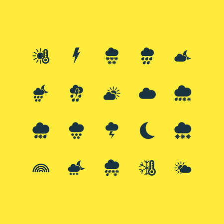Weather icons set with wet, heavy rain, thermometer and other cloudy elements. Isolated vector illustration weather icons.