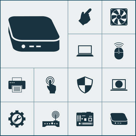 Computer icons set with printing machine, fan, net top and other laptop elements. Isolated vector illustration computer icons.