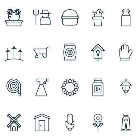 Gardening icons set with bush pot, farmhouse, jar and other jug elements. Isolated vector illustration gardening icons.