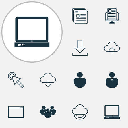 Web icons set with download, program, blog page and other user   elements. Isolated vector illustration web icons. Ilustração