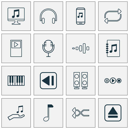 Music icons set with note donate, display, tune list and other clef   elements. Isolated vector illustration music icons.