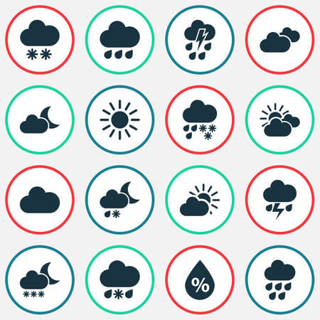 Air icons set with snowfall, moisture, moonlight and other sun elements. Isolated vector illustration air icons.