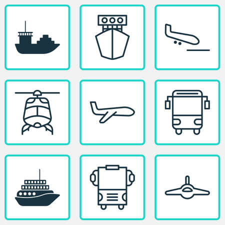 Delivery icons set with plane, college transport, transport and other air transport