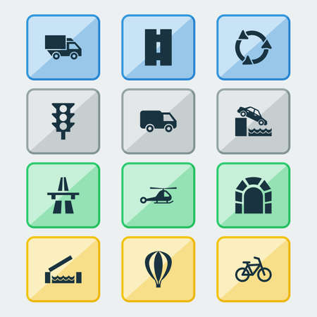 Transportation icons set with riverbank, airship, recycle and other opening bridge ahead   elements. Isolated vector illustration transportation icons. Illustration