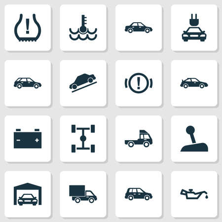 Automobile icons set with wheelbase, accumulator, control and other automobile
