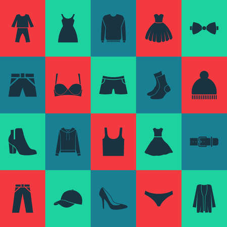Garment icons set with panties, half-hose, female winter shoes and other jumper