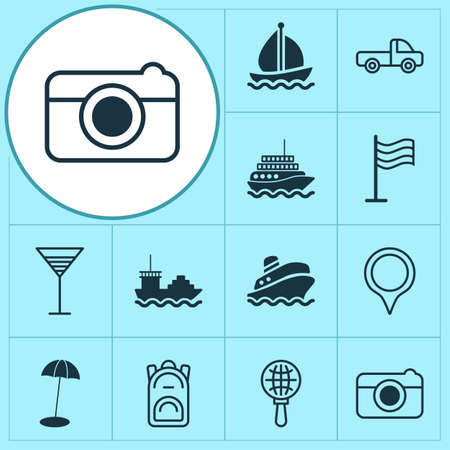 Tourism icons set with cargo boat, globe search, aperitif and other aperitif