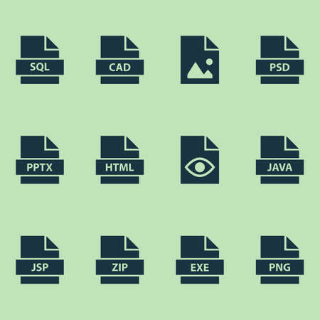 Document icons set with picture, database, view and other picture  elements. Isolated vector illustration document icons.