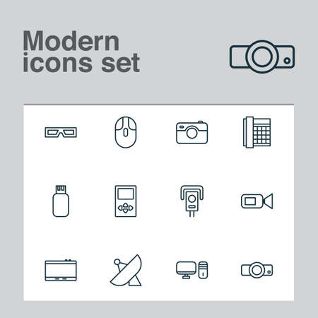 Device icons set with cctv, usb, photo apparatus and other work phone  elements. Isolated vector illustration device icons.