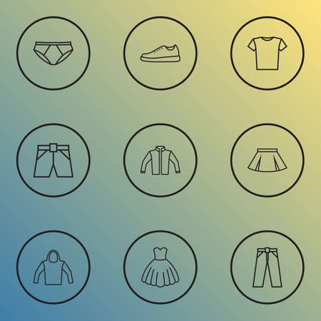Garment icons line style set with dress, underpants, blouse and other  elements. Isolated vector illustration garment icons. Çizim