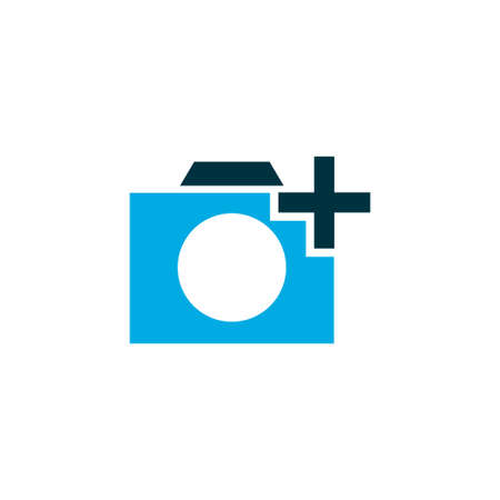 Add a photo icon colored symbol. Premium quality isolated photographing element in trendy style.