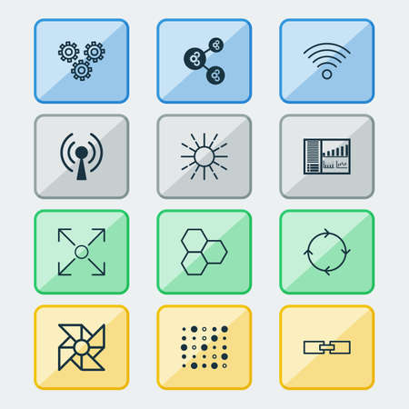 Robotics icons set with information components, related information, mechanism parts and other variable architecture    elements. Isolated vector illustration robotics icons. Illustration