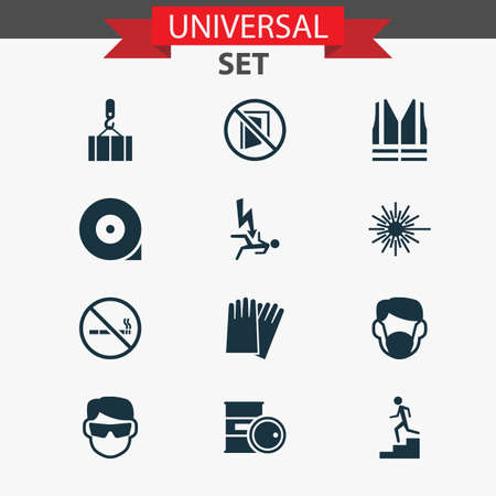 Protection icons set with lifesaver, lifting, risk and other cigarette forbidden elements. Illustration protection icons.