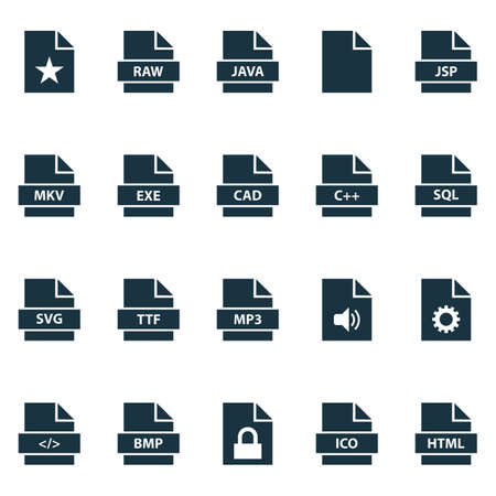 Document icons set with configuration, protection, data and other page   elements. Isolated vector illustration document icons.