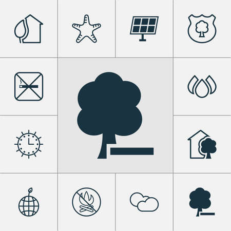 Eco icons set with sun power, delete woods, fire banned and other home