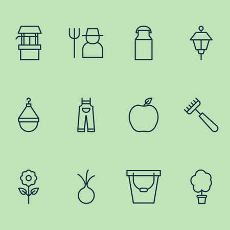 Gardening icons set with grower, pail, garlic and other garlic   elements. Isolated vector illustration gardening icons.