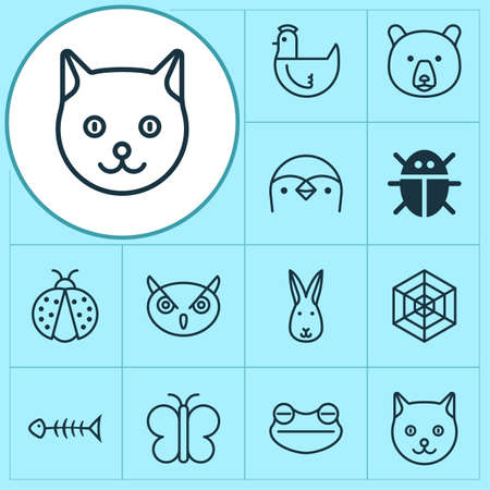 Animal icons set with night fowl, grizzly, toad and other moth elements. Vectores