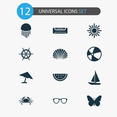 Season icons set with ship, spectacles, melon and other cancer elements. Isolated vector illustration season icons.