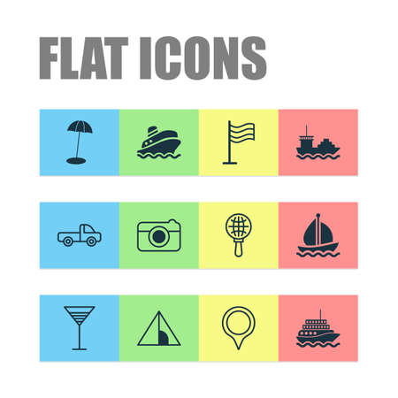 Tourism icons set with aperitif, sail ship, pin and other street