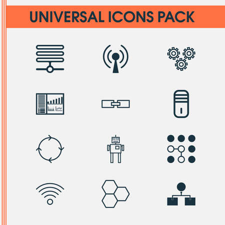 Machine icons set with mechanism parts, wireless communications, information base and other cyborg elements. Isolated vector illustration machine icons. Vector Illustration