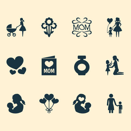 Mothers day icon design concept. Set of 12 such elements as mam, heart and child. Beautiful symbols for design, flower and daughter. Ilustração