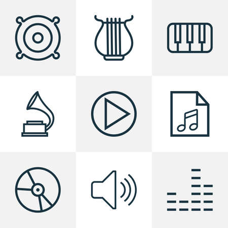 Music icons line style set with audio level, equalizer, keys and other phonograph
