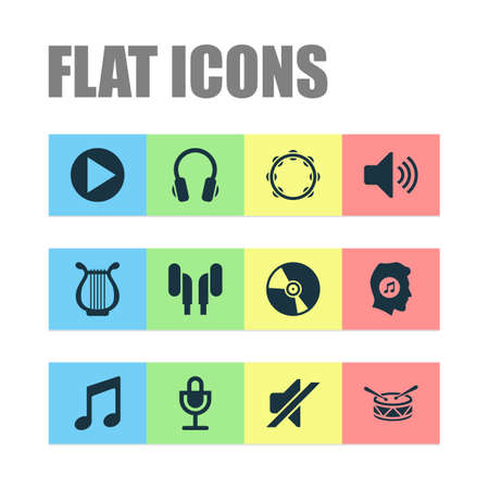 Multimedia icons set with earphone, music, lyre and other silence