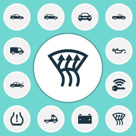 Auto pictogrammen instellen met indicator, fixing, auto en andere indicatorelementen. Geïsoleerde vector illustratie auto pictogrammen. Stockfoto - 93348366