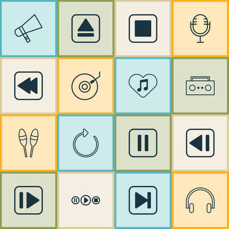 Audio icons set with bullhorn, headset, broadcast and other reload elements. Isolated vector illustration audio icons. 向量圖像