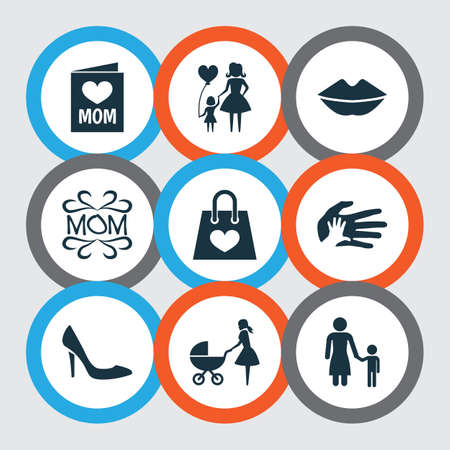 Mothers day icon design concept. Set of 9 such elements as stroller, madame and invitation. Beautiful symbols for lady, baby and text.