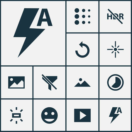 Image icons set with brightness, no filter, multimedia and other rotate left