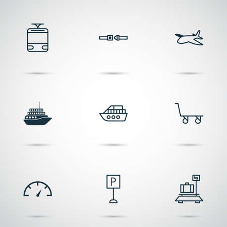 Delivery icons set with roadsign, safety belt, boat and other boat   elements. Isolated  illustration delivery icons. Stock Photo