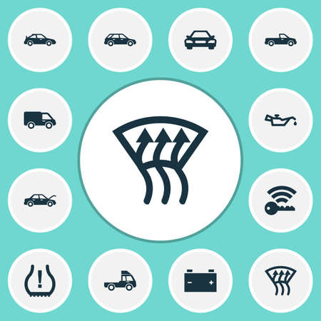 Car icons set with indicator, fixing, auto and other indicator   elements. Isolated  illustration car icons. Stock Photo