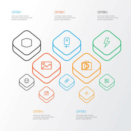 Image icons line style set with wide angle, tag face, monochrome and other flare  elements. Isolated vector illustration image icons. Illustration