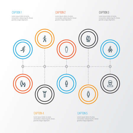 Human icons line style set with man, rejoicing, user and other man  elements. Isolated vector illustration human icons.