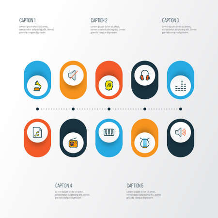 Audio icons colored line set with set, keys, volume and other mixer  elements. Isolated vector illustration audio icons. Ilustração